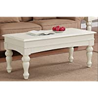 Vanilla Wasatch Coffee Table Adds a Traditional Touch to Your Home Decor. These Coffee Tables Feature a Distressed Vanilla White Finish with Non-Mar Foot Glides.