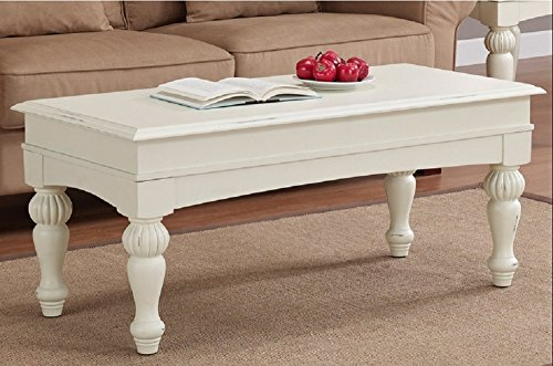 Vanilla Wasatch Coffee Table Adds a Traditional Touch to Your Home Decor. These Coffee Tables Feature a Distressed Vanilla White Finish with Non-Mar Foot Glides. - Table Distressed White Wood