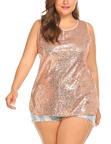 Yellow Sequin Top (IN'VOLAND Women's Plus Size Glitter Sequin Tank Top Sleeveless Sparkle Shimmer Vest Tops Camisole, Golden Yellow,)
