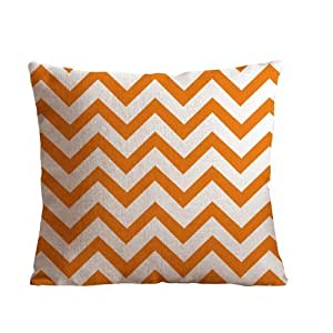 Huirong Pillowcase Design Orange Stripe Pillow Protector, Best Pillow Cover(Size 18 X 18 inch(45 X 45 cm) One side printing)