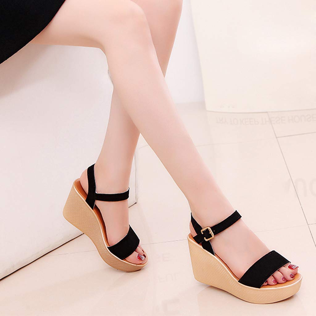 One promise Women Peep Toe Beach Wedges Sandals Summer Rome Strap Casual Breathable Shoes