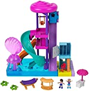 Polly Pocket Pollyville Super Slidin' Water Park with Micro Polly & Lila Dolls, Water Park with Water
