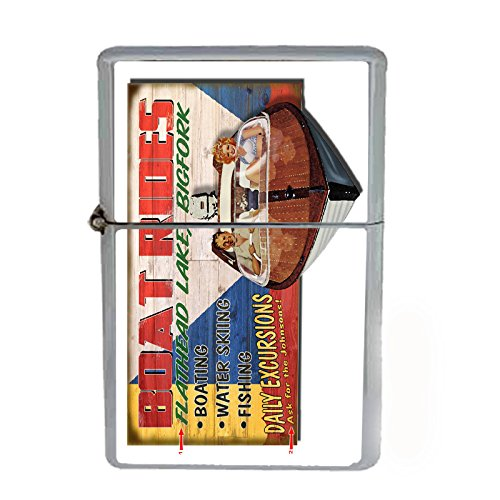 Wind Proof Dual Torch Refillable Lighter Vintage Poster D-238 Boat Rides Flathead Lake Bigfork by Perfection In Style