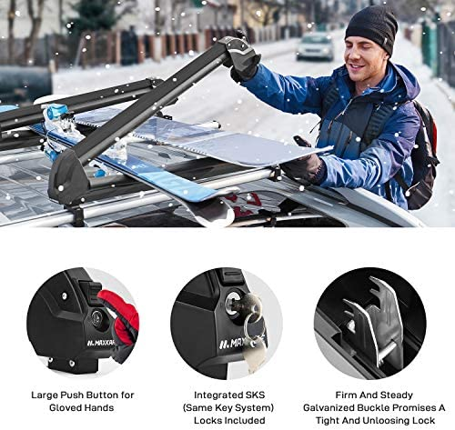 MaxKare Ski & Snowboard Car Racks Universal for 6 Pairs Skis/4 Snowboards Aviation Aluminum Resistant to -60°C Upgraded Ski Rack 33inch Fit Wing/Oblate/Square Crossbars Black