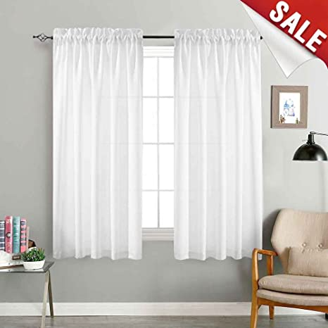 jinchan White Sheer Curtains for Bedroom 72 Inch Long Voile Curtain Set  Semi Sheer Window Drapes Casual Weave Window Curtains Linen Textured Sheers  1 ...