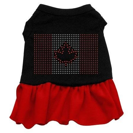 Mirage Pet Products Rhinestone Canadian Flag 8-Inch Pet Dress, X-Small, Black with Red