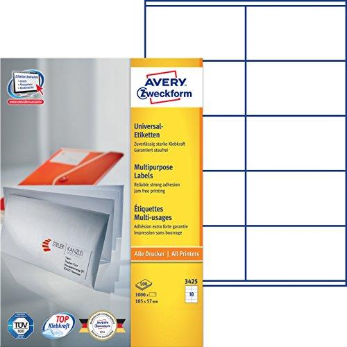 Avery Zweckform 3425 Universal-Etiketten (A4, Papier matt, 1,000 Etiketten, 105 x 57 mm) 100 Blatt weiß
