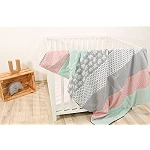 ULLENBOOM® Baby Blanket– Mint Pink Elephants (100 x 140 cm Baby Comforter Blanket, Great in The Pushchair or playmat; Motifs: dots, Stars)