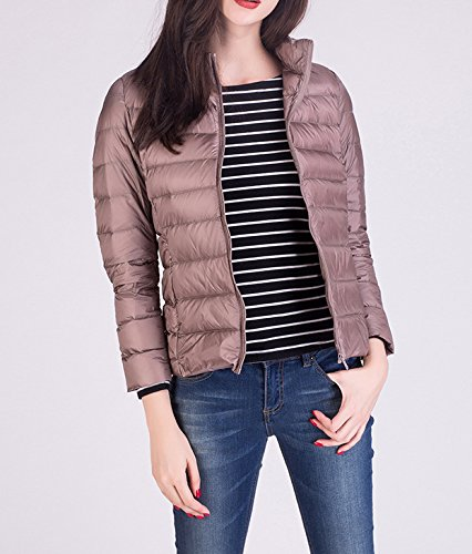 Women Lighweight Stand Collar Khaki Jacket Winter Puffer Packable with Jacket Down qrXwU7tX