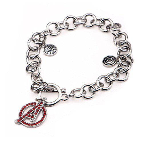 Marvel Avengers Age Of Ultron Captain America and Iron Man Stainless Steel Charm Bracelet