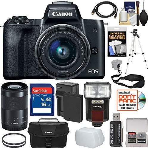 Canon EOS M50 Wi-Fi Digital ILC Camera & EF-M 15-45mm & 55-2
