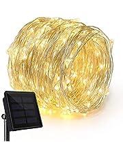 100 المصابيح سلسلة الطاقة الشمسية الأضواء ، ماء حبل ضوء الزخرفية لشجرة عيد الميلاد في الهواء الطلق ، حديقة ، الباحة ، حزب ، الزفاف ، العشب ، عطلة ، مهرجان (أبيض دافئ)