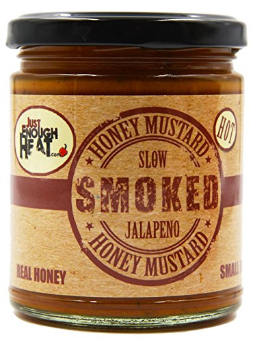 Slow Smoked Jalapeno Honey Mustard - Sauce, Dressing, Pretzel Dip - Hot & Spicy by Just Enough Heat ()