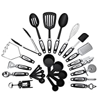 25-Piece Kitchen Utensils Set, Cooking Tools & Gadgets, Stainless Steel & Nylon