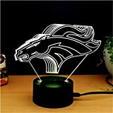 Denver Broncos Light 3D LED Night Light Lamps A Great Nightlight with a Soft Glow for Kids Home Decor Lamp Football Fans Gifts to Boys