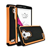 LG G4 Case, MagicMobile [Dual Armor Series] Hybrid Impact Resistant LG G4 Shockproof Tough Case Hard Rugged Plastic with Rubber Silicone Skin Protective Case for LG G4 - Black / Orange