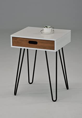 White Dark Oak Side End Table Nighstand Black Metal Legs with One Drawer 24 H – Mid-Century Style