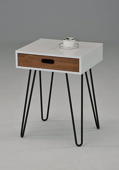 Amazoncom White Dark Oak Side End Table Nighstand Black Metal