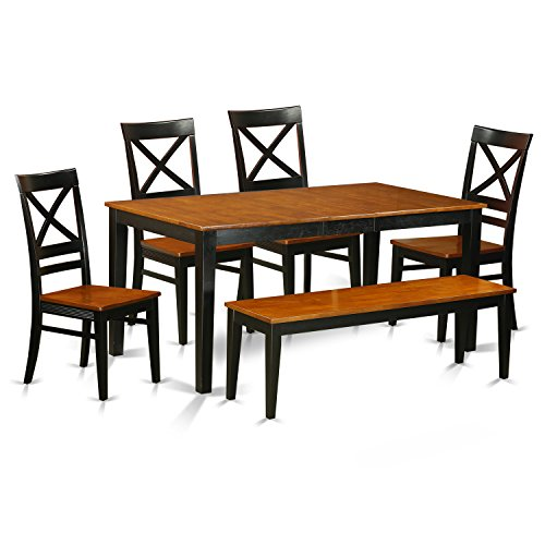 East West Furniture NIQU6-BCH-W 6 Piece Kitchen Tables and 4 Chairs Plus Bench Set