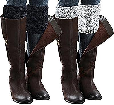 2 Pairs Women Winter Leg Warmer Cable Knit Button Furry Boot Cuffs Socks Short