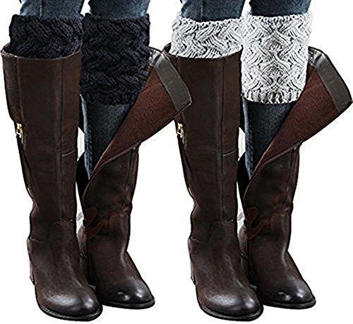LIWEIKE 2 Pairs Women Winter Warm Crochet Knitted Furry Boot Cuff Socks Short Leg Warmers (Black & Light Gray))