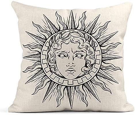 Kinhevao Cojín Dibujo Antiguo Sol Cara del Dios Griego y Romano ...