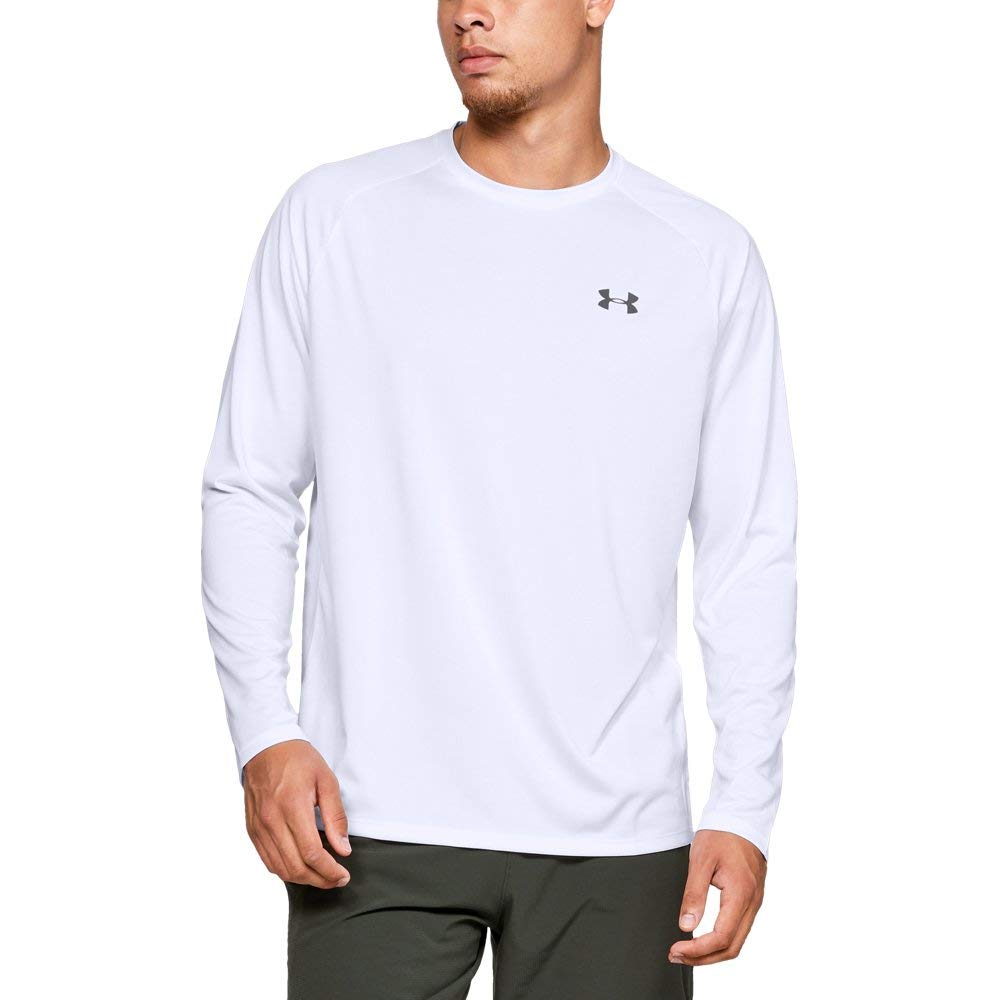 Under Armour Men's Tech Long sleeve Shirts, White (100)/Graphite, Small
