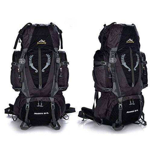 bolso de nylon impermeable hombres y mujeres alpinismo de soporte para bolsas de deportes al aire libre senderismo mochila de viaje negro