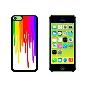 Paint Dripping Rainbow - Art Artist Painting Snap On Hard Protective Case for Apple iPhone 5 5s - Black