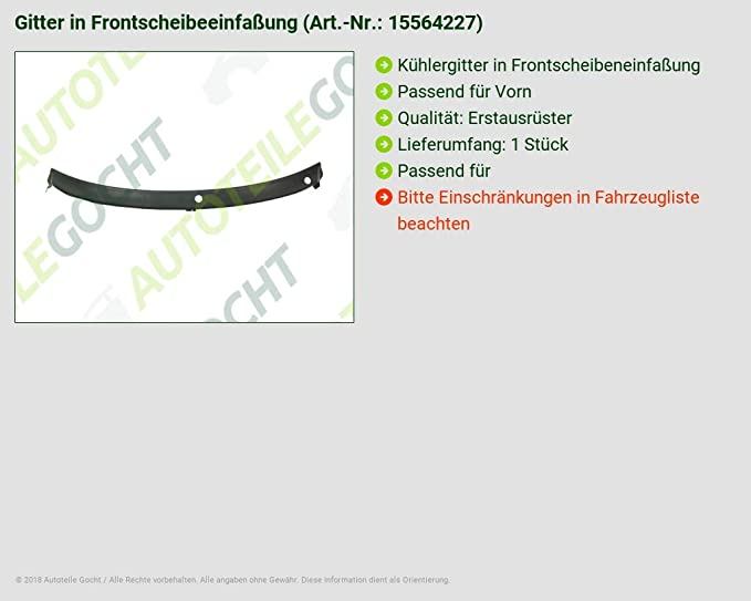 WINDSCHUTZSCHEIBENRAHMEN FÜR 3B1819415EB41
