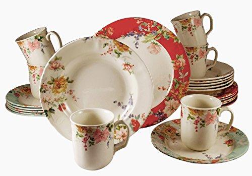 Tudor 24-Piece Porcelain Dinnerware Set, Service for 6 - CRIMSON; Special OFFER; See 10 Designs INSIDE!