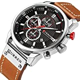 Casual Chronograph Sport Watches for Men Business Quartz Leather Wristwatch with Calendar
