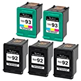 Valuetoner Remanufactured Ink Cartridge Replacement For Hewlett Packard HP 92 & HP 93 C9362WN C9361WN (3 Black, 2 Tri-Color) 5 Pack