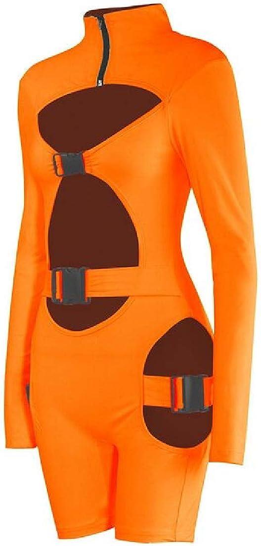 Spirio Women Cutout Long Sleeve Bodysuit Bodycon Short Jumpsuit Romper