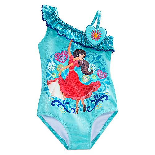 Disney Elena Of Avalor Swimsuit For Girls Size 4 Blue (One Piece Disney Swimsuit)