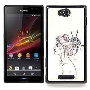 """Qstar Arte & diseño plástico duro Fundas Cover Cubre Hard Case Cover para Sony Xperia C (Neon Girl Dibujo"""")"""