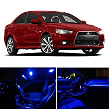 LEDpartsNOW Mitsubishi Lancer 2007-2015 Blue Premium LED Interior Lights Package Kit (6 Pieces)