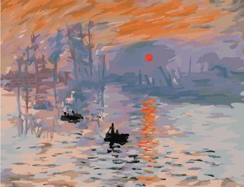 Monet Sunrise Impression DIY Oil Painting by Numbers Colorful Canvas Drawing Paintwork Kits Gift Arts Craft for Home Office Wall Decoration-16x20inch Unframed