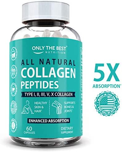 Multi Collagen Peptides Capsules Types (I II III V & X) Grass-Fed Collagen Protein Powder Supplement for Anti-Aging, Hair, Skin, Nails, Bones & Joints - 5X Absorption Hydrolyzed Collagen Powder Pills