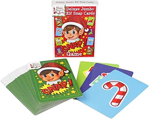 Ossian Jumbo Snap Cards Pack of 52 Extra Large Naughty Little Xmas Elf Playing Cards with a Variety of Festive Designs Traditional Family Christmas Holiday Fun for Kids and Players of All Ages