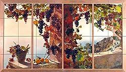 View from the window grape vine sea by RUTH MERCIER Tile Mural Kitchen Bathroom Wall Backsplash Behind Stove Range Sink Splashback 7x4 4