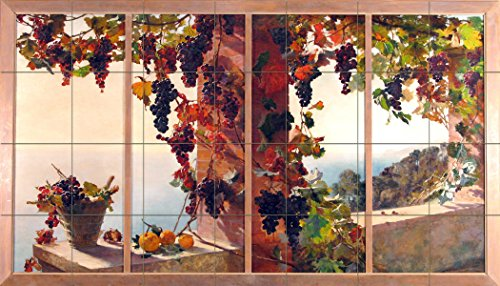 View from the window grape vine sea by RUTH MERCIER Tile Mural Kitchen Bathroom Wall Backsplash Behind Stove Range Sink Splashback 7x4 4.25'' Ceramic, Matte by FlekmanArt