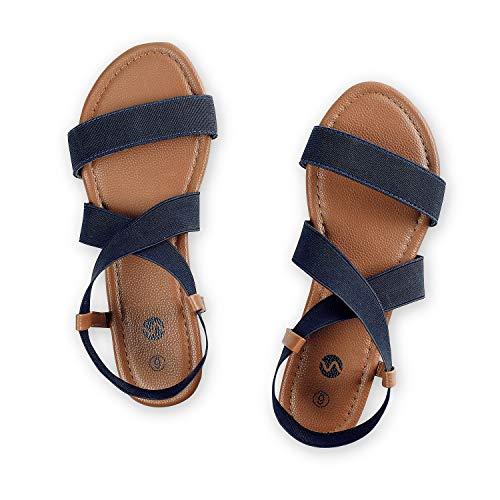Rekayla Flat Elastic Sandals for Women Navy Blue 08