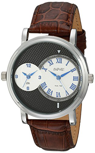 Dual Time Swiss (August Steiner Men's AS8146SSBR Silver Dual Time Zone Swiss Quartz Watch with Black Dial and Cognac Leather Strap)