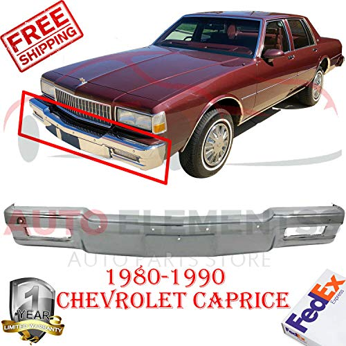 New Front Bumper Face Bar Chrome Steel For 1980-1990 Chevrolet Caprice Classic Wagon 4-Door Without Mounting Brackets & Molding Holes With License Plate Provision Direct Replacement GM1002156