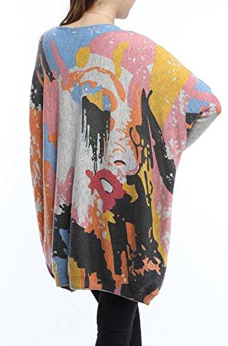 Robe Lache Femme Tricot Imprim ELLAZHU Pull TRqxAw1Eg