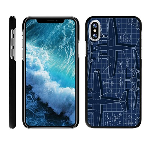 TurtleArmor | Apple iPhone X Case | Apple iPhone 10 Case [Slim Duo] Ultra Slim Hard Matte Protector Clip On Cover on Black War and Military Design - Plane Blueprint (Graphics Plane)