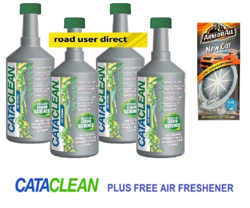 4 x Cataclean Engine and Catalytic Converter Cleaning Treatment & 4 Fruit Air Fresheners GREEN CAP