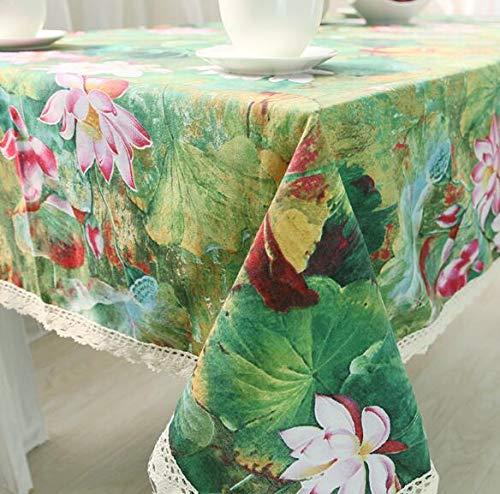 LYJZH Comida clásica China del paño de la Mesa de Centro de la Flor de Loto del algodón del Mantel 140 * 250
