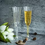 Efavormart 60 Pcs Disposable Silver Glitter Clear Plastic Champagne Flutes for Wedding Birthday Party Banquet Events Cocktail Cups